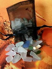 Genuine SEA GLASS & Mini Pouch Witches Altar & Spells Wicca Pagan Mermaids Tears