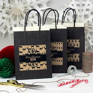 PERSONALISED CHRISTMAS GIFT BAG | BLACK & KRAFT | PATTERN PARTY BAGS FAVOUR