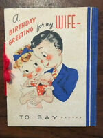 Vintage Birthday Card Greeting for My Wife - 1943