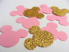50 Minnie Mouse table party confetti pink and gold -1 inch