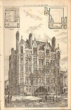 1885 ANTIQUE ARCHITECTURAL PRINT- CENTRAL BOARD SCHOOL, DEANSGATE, MANCHESTER