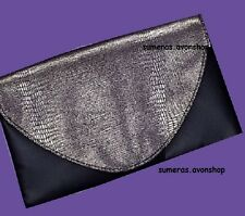 Avon Black Light Soft Clutch Bag ~ Snake Skin Effect ~ Chic Evening/Party Purse