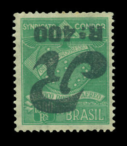 BRAZIL 1930 AIRMAIL - CONDOR REG. STAMPS - 400/1300r INVERTED SURCH Sc#1CLF3a MH