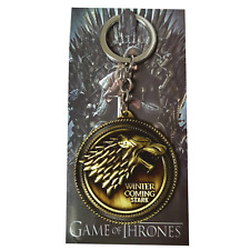 Game Of Thrones Round Jon Snow Direwolf Winter Is Coming Stark Wolf Keyring GOLD