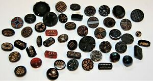 50 Old & Unusual Antique Glass Buttons Variety Enamel, Shapes, Designs, Colors