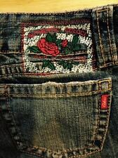 Authentic Colcci size 4 inseam 34 low rise flare denim jeans Red roses label