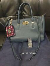 Tommy Hilfiger Shoulder Bag Blue Ladies Satchel Turn Lock with PURSE RRP £170