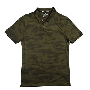 Nike Zonal Cooling Camo Golf Shirt Polo Olive Green Small