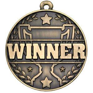 50mm WINNER Medal with FREE Engraving Ribbon & UK pp school sport achievement