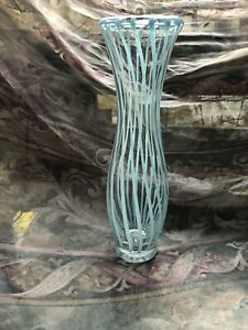 Tall Art Glass Blue Striped Vase