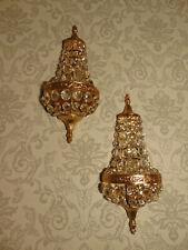 1 Paar große Korbwandlampen Leuchter alt antik Bronze Gold Kristall ca. 1930