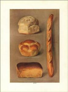 BREAD, FRENCH, DOMESTIC, COTTAGE, GRAHAM, antique print authentic 1911