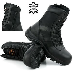 MENS SAFETY BOOTS ARMY MILITARY POLICE STEEL TOE CAP COMBAT WORK ZIP SHOES SIZE