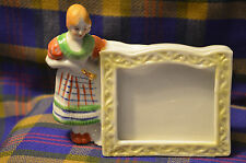 "Vintage Ceramic Freestanding 3x3"" Picture Frame w/Maiden on Side-JAPAN"