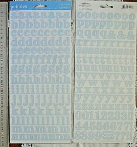 BABY BLUE with WHITE Spots FLAT 253 Stickers Letter & Numbers 14-20H 9-23mmW L4R