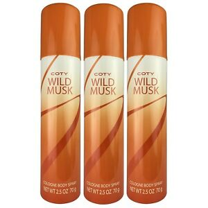( LOT 3 ) WILD MUSK Coty Cologne Body Spray 2.5 oz New Fragrance Women