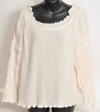 Vntg.Kathryn Dianos Ivory Pleated Poets Blouse,Top, Romantic Sleeves SZ 4