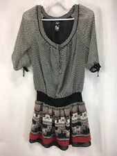 Guess Womens Size 3 Small Tunic Dress Black Red White Top Shirt Blouse Sheer.