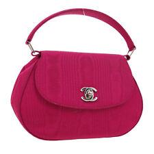 CHANEL CC Logos Hand Bag 5991866 Purse Pink Satin Vintage Authentic K08544