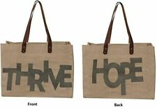 Reusable Grocery Bag Shopping Tote Cotton Jute Burlap with Leather Handles