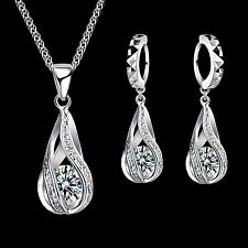 925 Sterling Silver Twisted Waterdrop Cubic Zirconia Jewellery Set.
