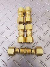 "Compression Tube Fitting, Union, 1/4"" x 1/4"" Tube OD (Brass) 5pcs."