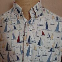 Munsingwear Button-Front Shirt Mens LT Blue Sailboats Short-Sleeve Oxford Collar