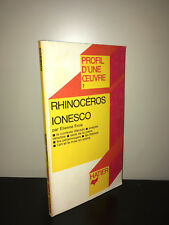 Etienne Frois RHINOCEROS - IONESCO Profil d'une Oeuvre HATIER Poche 1970 - BC10A