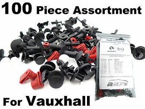 100 Piece Vauxhall Plastic Trim Clip Assortment- Common Vauxhall Car Clips Kit