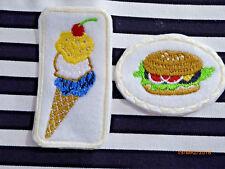 2 Applikation Aufbügler Aufnäher  mit Burger EistütePatches Aufnäher oval eckig