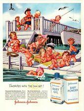1956 JOHNSON'S Baby Oil - Cute Babies Sunbathing Cartoon - Retro VINTAGE AD