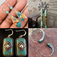 925 Silver Turquoise Gems Wedding Engagement Drop Dangle Earrings Antiqu Jewelry