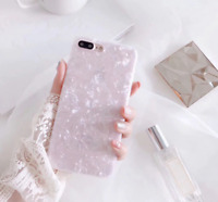 For iPhone 6 6S 7 and 8 Glossy Bling Marble Shockproof Silicone Gel Cover Case