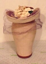 Vict/Edw/30s-40s FINE Straw TILT HAT w/Flowers,Purple Net by New York Creations
