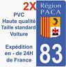 Autocollant Sticker Neuf plaque immatriculation département 83 Région PACA HQ