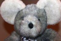"VTG  1992 Rare Aurora 13"" A&A Plush Gray Mouse Sitting stuffed animal toy HTF"