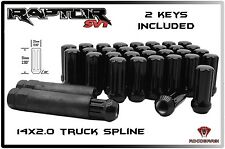 FORD RAPTOR 24 PC BLACK SPLINE LUG NUTS 14X2.0 W/ 2 KEYS F-150 6 X 135 TRUCKS