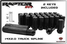 FORD RAPTOR 24 PC BLACK SPLINE LUG NUTS 14X2.0 W/ 2 KEYS F-150 6 X 135 TRUCKS
