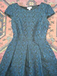 MONSOON Gorgeous Black & Blue Brocade Cocktail Dress - UK 14 -