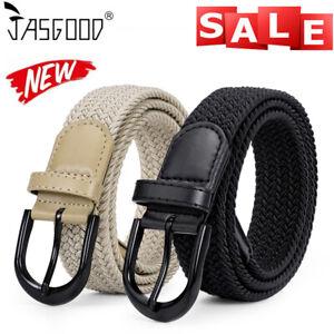 JASGOOD Braided Canvas Stretch Belt Elastic Casual Belt for Men /Women /Junior