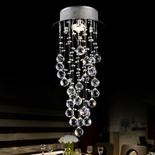 Modern Luxury LED Crystal Rain Drop Spiral Pendant Lamp Ceiling Light Chandelier