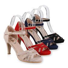 Damen Riemchensandaletten Stiletto High Heel Sandaletten Strass 825637 Schuhe