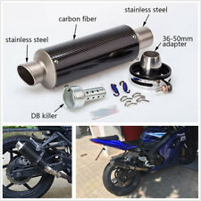 51mm Motorcycle Carbon Fiber Slip-On Exhaust Muffler Pipe Escape With DB Killer