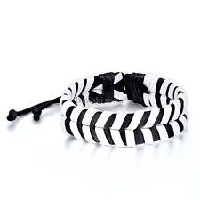 Black White Belt Cross Braided Leather Strap Wrap Bracelet  Adjustable Wristband