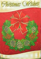 "Decorative Christmas Flag with Wreath - 28"" x 40"" - NEW"