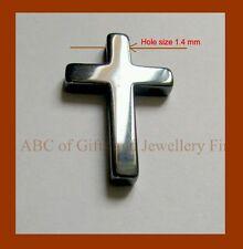 Hematite Pendant Cross /crucifix Gunmetal 33x21mm