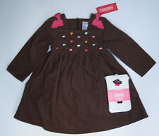 NWT Gymboree Cupcake Cutie 2T Brown Corduroy Smocked Embroidered Dress & Tights