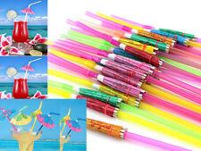50pcs Hawaiian Hula Beach Hen's Night Party Umbrella Parasol Drinking Straws