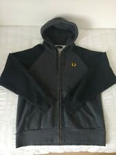 Fred Perry Men's Grey/Black Hooded Zipped Top, Size XL