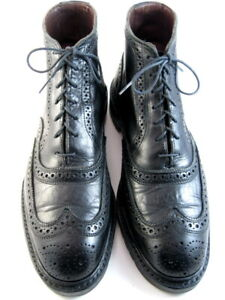 """Allen Edmonds """"STIRLING"""" Men's Leather Wingtip Boots 11 D Black Made in USA(603)"""
